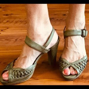 Hard to find olive green open toe leather heels